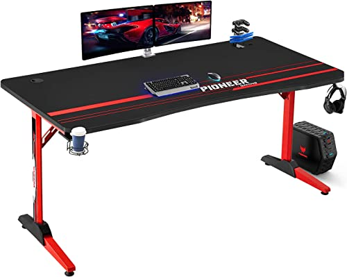 Editors' Choice: Furniwell 63 Inch Gaming Desk Computer T-Shaped Desk Game Table Workstation