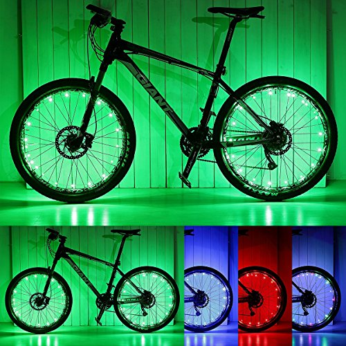 PAMASE 2 Packs Waterproof LED Bike Wheel Light, 20 LED Lamp Bead Strip for Bicycle Spokes and Rims - Green