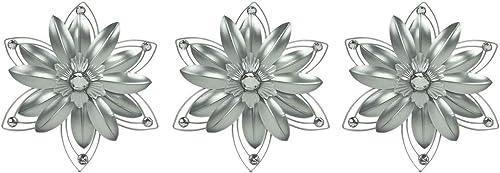Elico Ltd. Jeweled 3D Metal Art Flower Wall Sculpture Set of 3