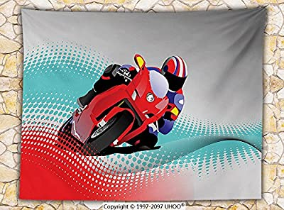 Motorcycle Decor Fleece Throw Blanket Biker on the Road Digital Dot Background Fast Extreme Risky Leisure Graphic Work Throw