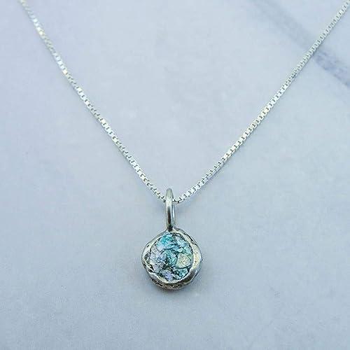 Handmade 45 cm Round chain Roman Design Necklace 925K Sterling Silver Handmade  Designer Jewelry  Ancient  setting design jewelry