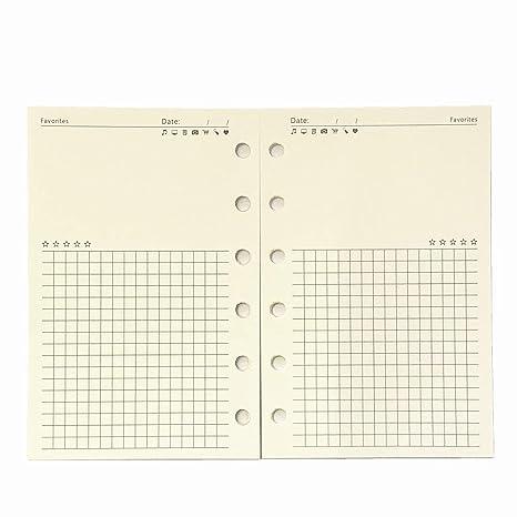 A7 Planner Refill, A7 Agenda Refill Diary Note Paper for Filofax,6 Hole/100gsm,4.84 x 3.23, Harphia