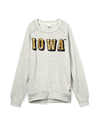 4aac9aeae28 Amazon.com: Victoria's Secret PINK Iowa Hawkeyes Bling Gym Crew Sweatshirt  X-Small Gray: Clothing