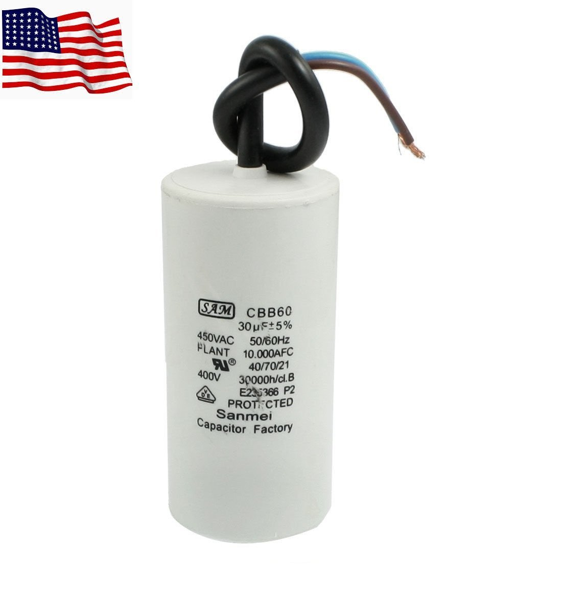CBB60 Motor AC 450V 30uF Running Capacitor w 2 Lead Wires US Ship