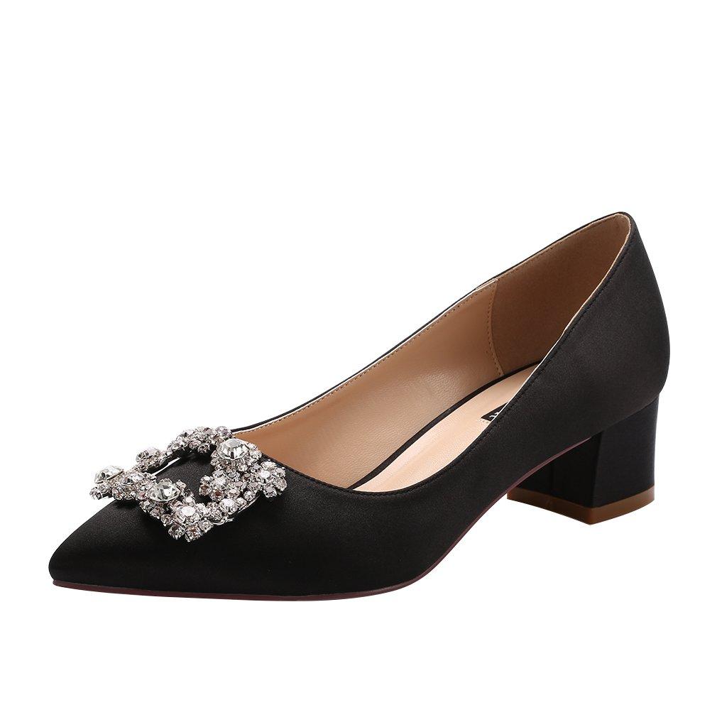 ERIJUNOR E2233 Women Comfort Low Heel Closed Toe Rhinestone Wedding Evening Satin Shoes for Wide Foot Fit Black Size 6