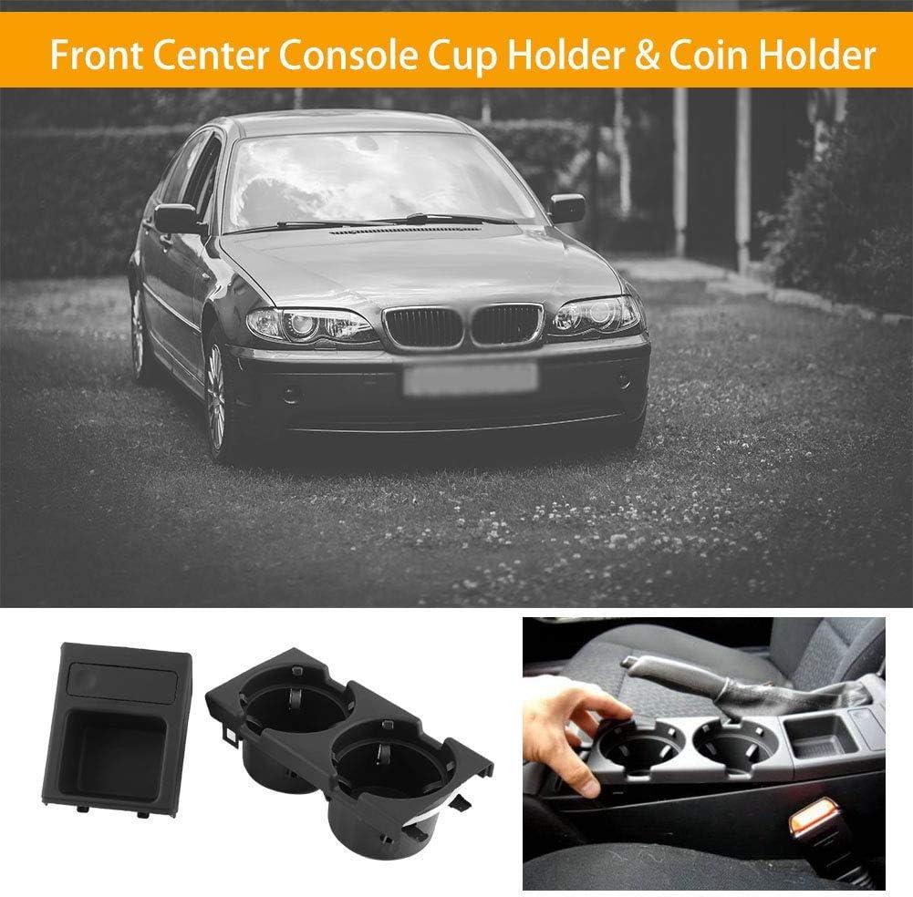 EVGATSAUTO Car Interior Front Center Console Cup Holder Coin Holder for BMW E46 1998 1999 2000 2001 2002 2003 2004 Black