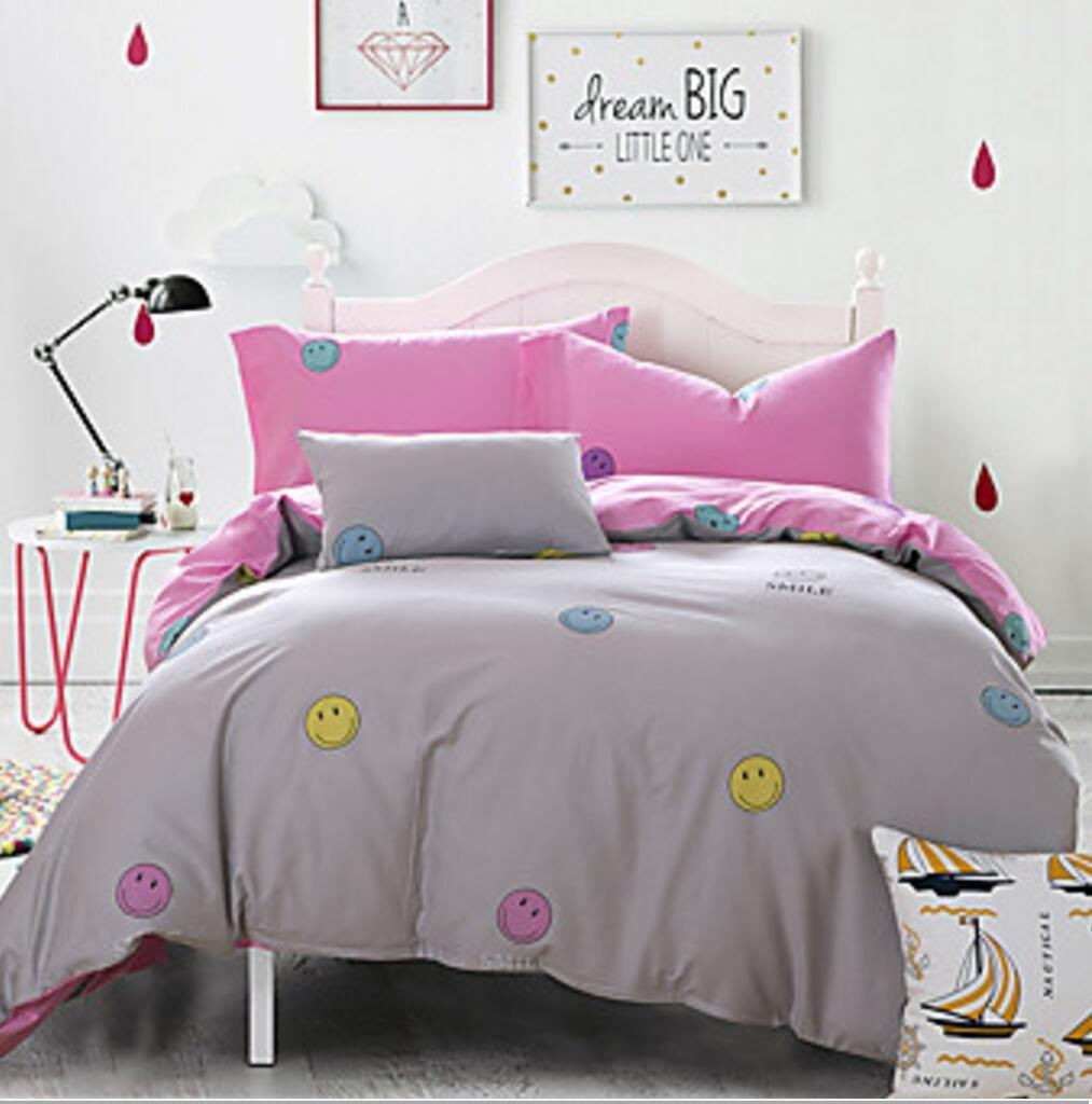 WYFC Massiv 4 Stück Baumwolle Kleidung Maschinell gefertigt Baumwolle Kleidung 1 STK. Bettdeckenbezug 2 STK. Kissenbezüge 1 STK. Betttuch Yellow