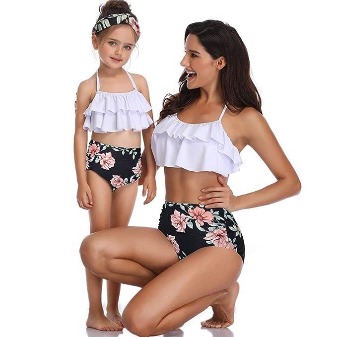e34ca5a7cd POLP Ropa de baño Madre e Hija Playa Chica Bikinis Mujer 2019 Braga Alta Mujer  Traje de baño Cintura Alta Dos Piezas ...