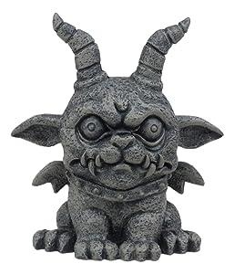 "Ebros Gothic Horned Bulldog Gargoyle Agamon Figurine Small Mythical Fantasy Decor Statue 3.75"" Tall As Talisman of Protection Fairy Garden Accessory DIY Renaissance Or Medieval Collectible"