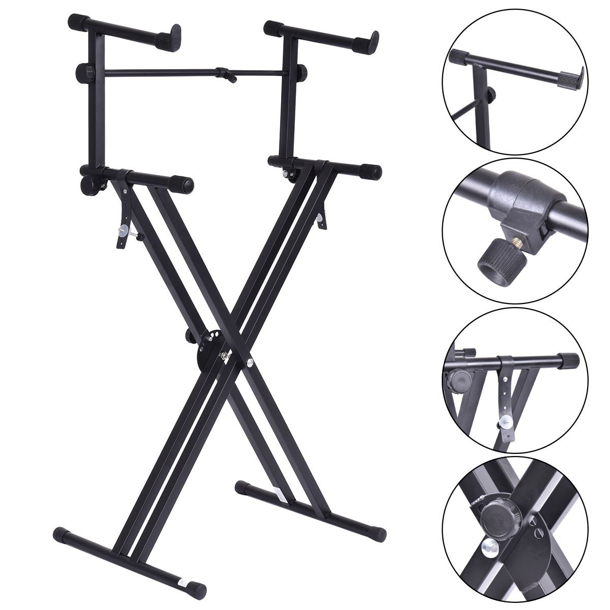 Pro Adjustable 2-Tier X Style Dual Keyboard Stand Electronic Piano Double by Brand New