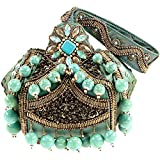 Mary Frances Adore Turquoise Beads Gemstones Seed Beaded Detailed Purse Wristlet