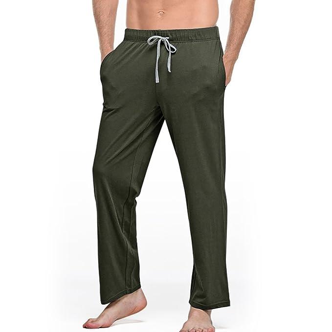 ... Algodón para Hombre Pantalones de Dormir Hombres String Pijamas Sueltos Pantalones Hombre sólido Transpirable Lounge Pants: Amazon.es: Ropa y accesorios