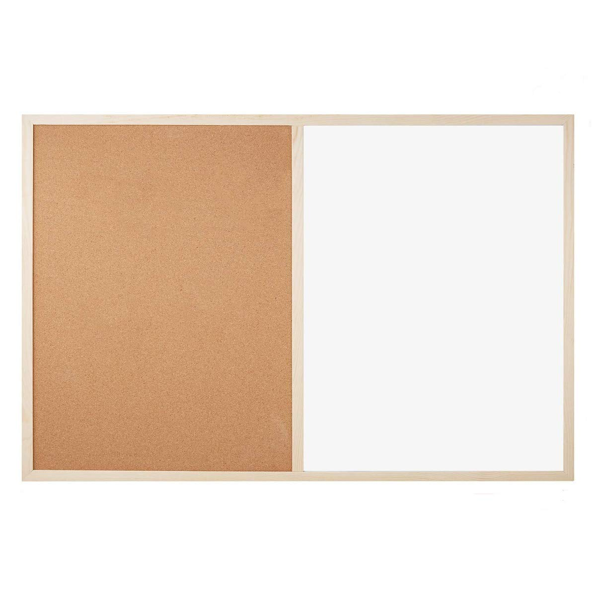 ofituria/® lavagna combinata bianca e di sughero laminato A doppio uso da parete con cornice in legno 900X600 CM
