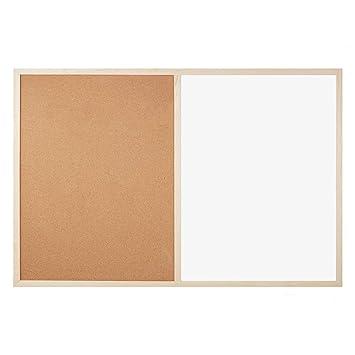 OFITURIA ® Pizarra Combinada Blanca Y De Corcho Laminado De Doble Uso De Pared Con Marco De Madera (900X600 MM)