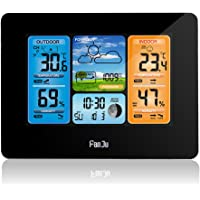 FanJu FJ3373 Color Weather Station Forecast with Indoor Outdoor Temperature and Humidity | Barometer| Moon Phase | Alert…