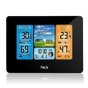 Konesky Estación meteorológica inalámbrica, Termómetro de Temperatura Barómetro Digital Interior Temperatura Exterior Humedad con Sensor