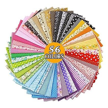 56 Telas multidiseño y multicolores de 50 X 50 cm para patchwork, manualidades, costura