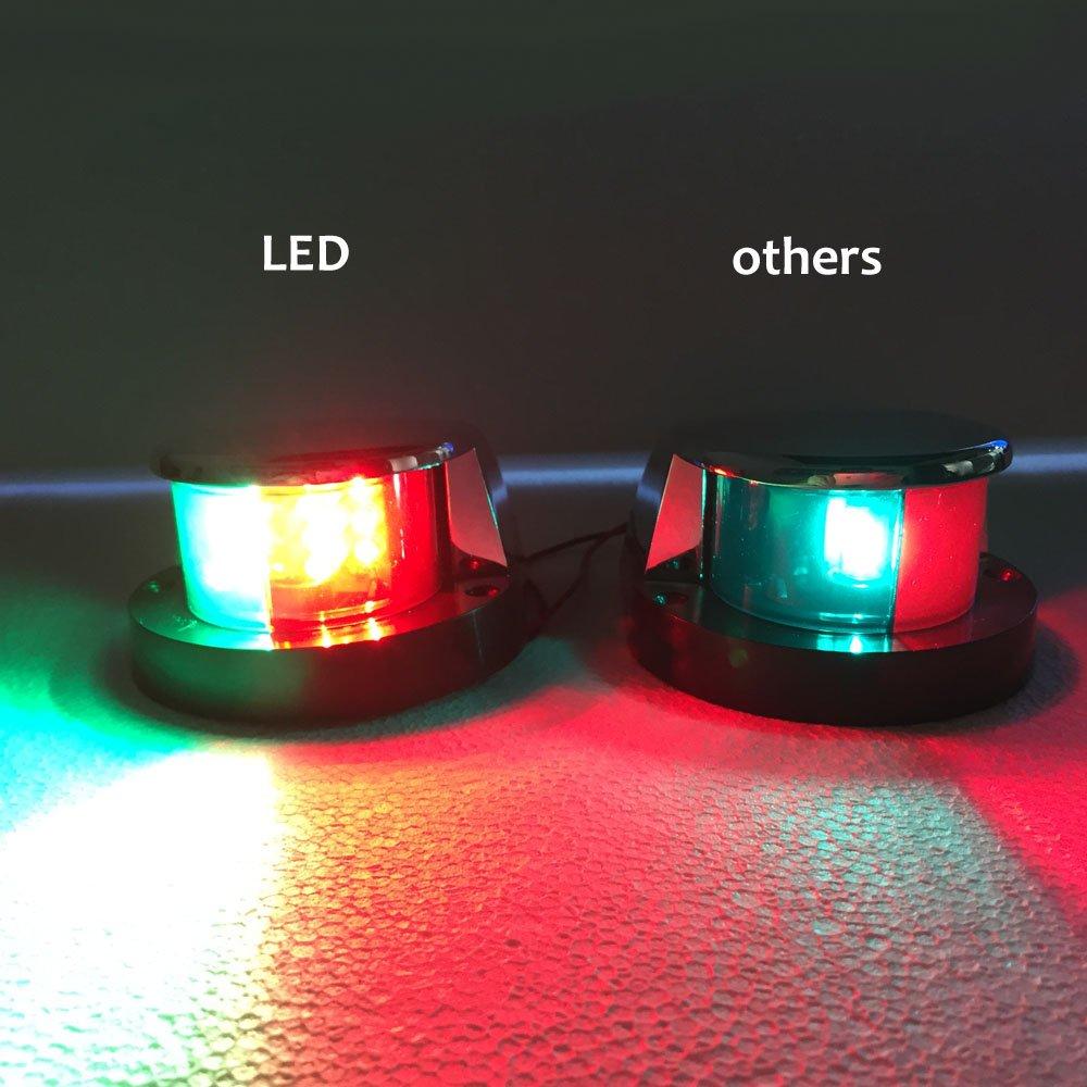 Marine Boat LED Bi Color Bow Navigation Light Red Green Lenses