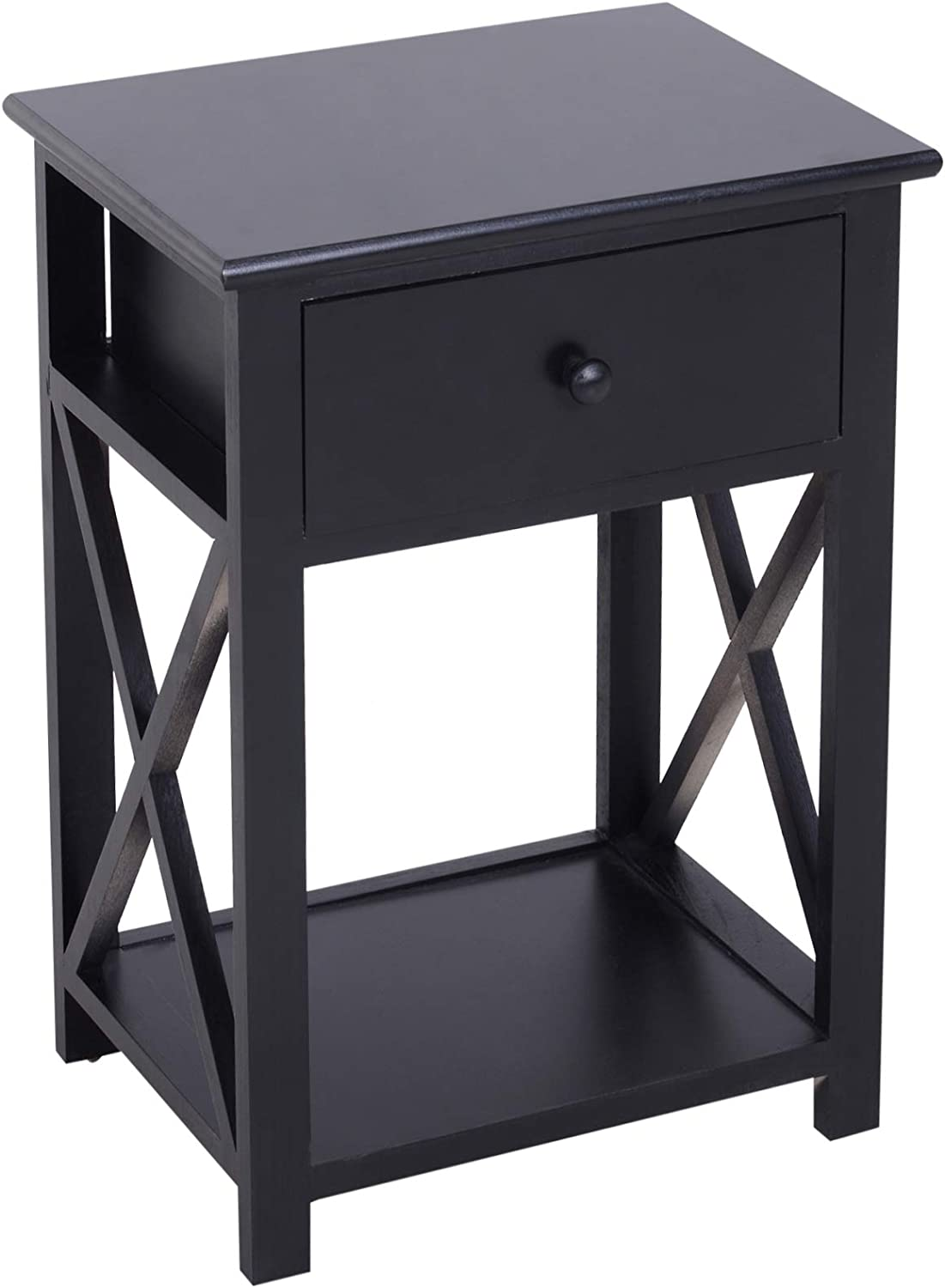 HOMCOM X Frame Design Wood End Table Nightstand with Storage Drawer Black