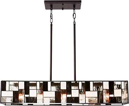 TODOLUZ 34 Long 5-Lights Tiffany Style Kitchen Island Pendant Light with Bronze Finish Antique Hanging Lamp Ceiling for Dining Room Cafe