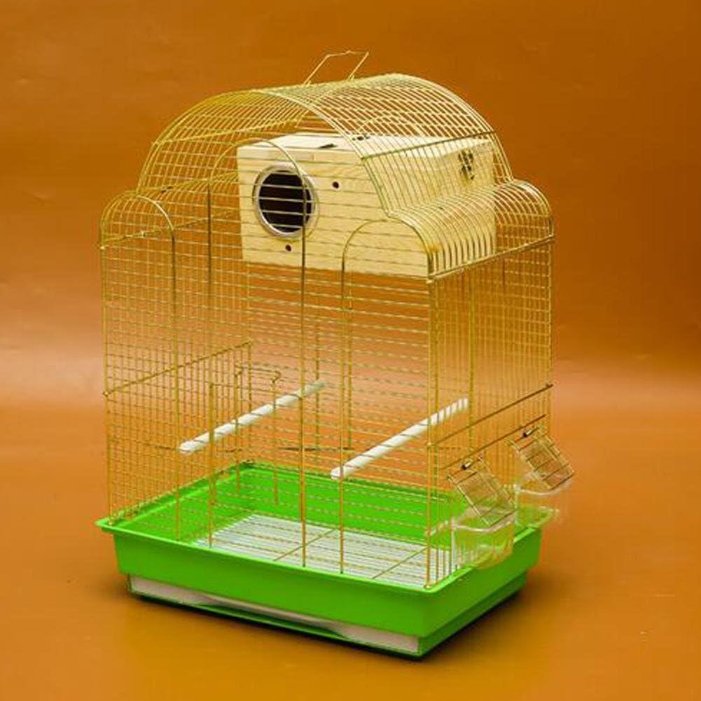 JiaYue Luxury100 de Alta Temperatura de Cromo Metal Jaulas para Pájaros de Oro de Color Pequeño 43x30.5x57.5CM, Golden Color, Set 2