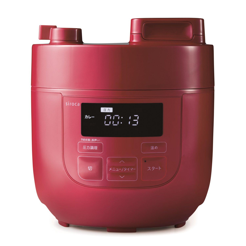 siroca 電気圧力鍋 SP-D121 レッド[圧力/無水/蒸し/炊飯/温め直し/コンパクト] 2L レッド B0762R22NQ