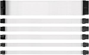 Antec Power Supply Sleeved Cable /24pin ATX /4+4pin EPS /8-pin PCI-E /6pin PCI-E PSU Extension Cable Kit 30cm Length with Combs, White