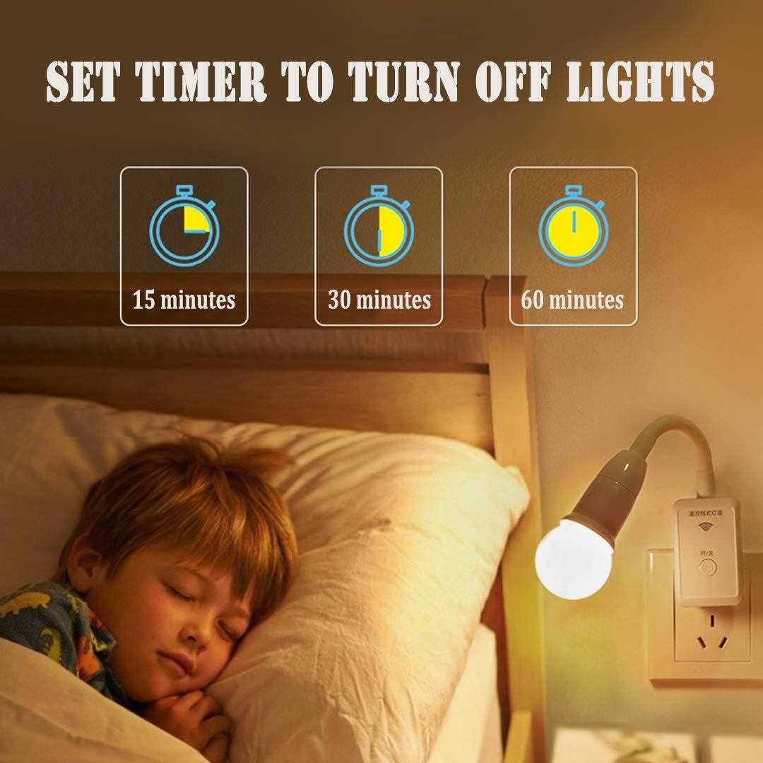 Telecomando Intelligente Portalampada E27 Lampada da Parete Flessibile Adattatore Girevole 360/° Camera da Letto LED Lampada a Muro Spina EU Luce LED Adattatore Bianco