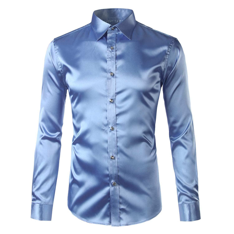 Mxyoz Silk Shirt Men 2017 Satin Smooth Men Solid Tuxedo Shirt Business Casual Slim Fit Shiny Gold Wedding Dress Shirts
