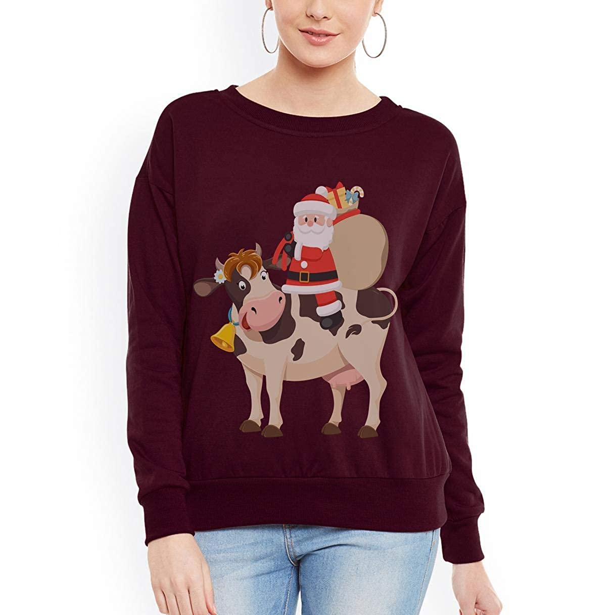 Doryti Santa Riding Cow Unisex Sweatshirt tee
