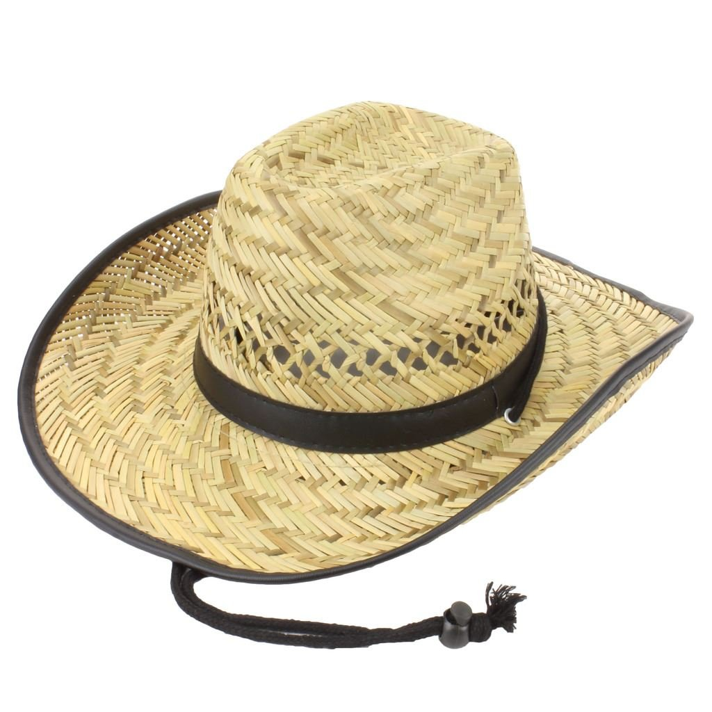 STRAW COWBOY HAT WITH BLACK BAND & TRIM FESTIVALS LADIES MENS