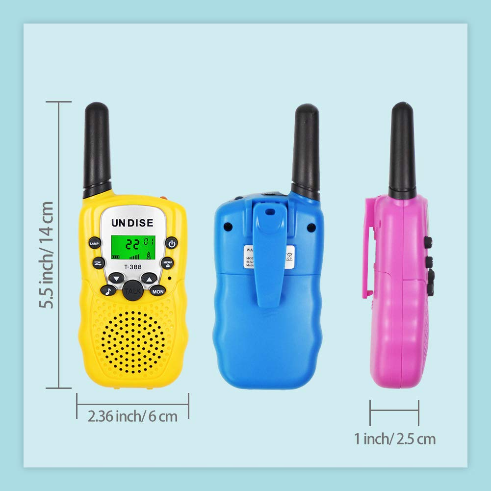 undise Walkie Talkies for Kids 3 Mile Range Mini 22 Channels 2 Way Radio Toy Kids Walkie Talkies with Flashlight for Outside Adventures, Camping, Hiking, 3 Packs by undise (Image #4)