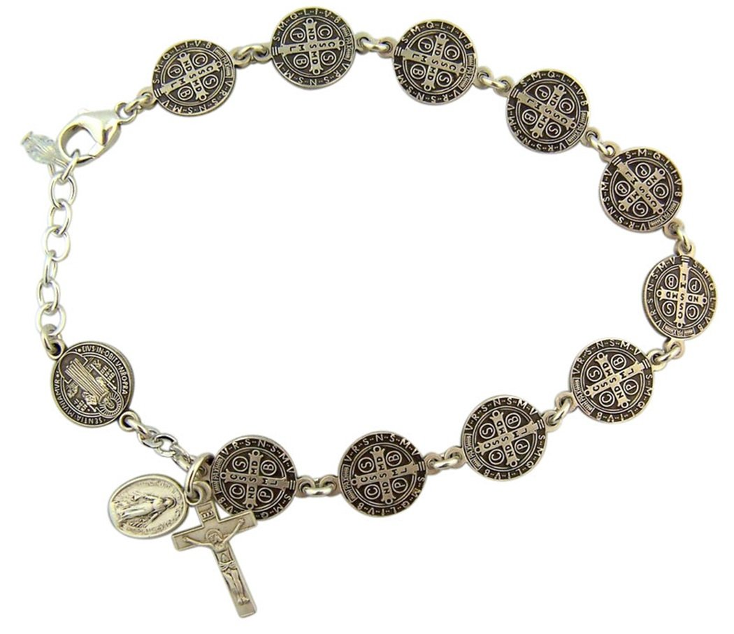 Sterling Silver Saint Benedict Rosary Bracelet with Miraculous Medal, 7 1/2 Inch