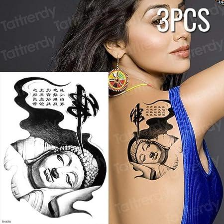Handaxian 3 Piezas boceto Tatuaje patrón Mujer Chica Tatuaje Negro ...