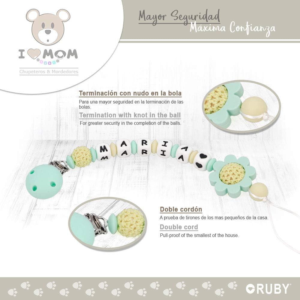 Chupetero personalizado Rosa Kit 3 piezas collar lactancia y sonajero RUBY
