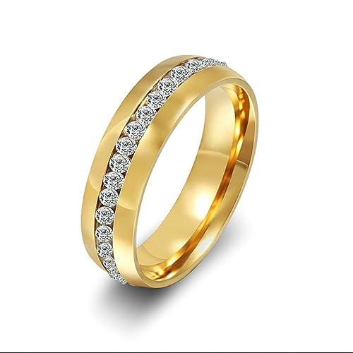 Daesar Joyería Anillo Acero Anillo de Matrimonio CZ Boda Ring Size 9.5