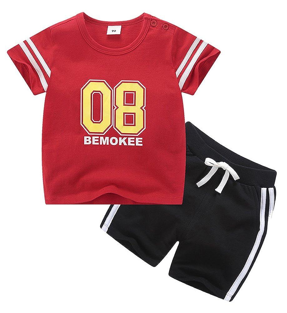 Boys 08 Print Comfortable Stylish Athletic Short Summer Clothing Sets