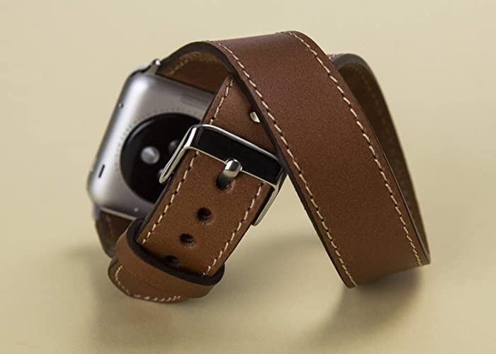 494dd06e3 Double Tour Apple Watch Leather Band iWatch Leather Strap 38mm, 42mm,  Double Wrap Apple Watch Band Brown For Man or Women Handmade Genuine Leather  Apple ...