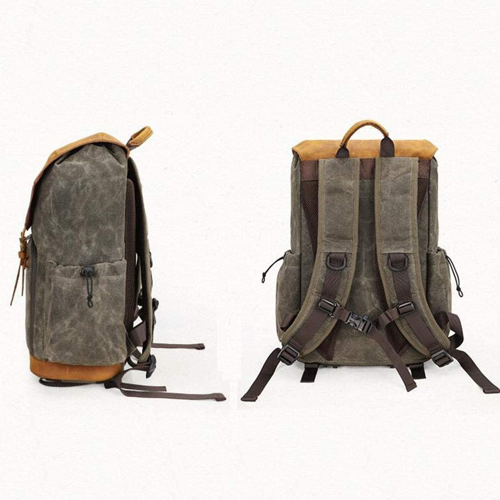 Camera Backpack Off-Road Waterproof Canvas Bag Lens Bag Outdoor SLR Camera Liner Camera Bag Size 18x13x7 Inches Color : Military Green, Size : 46x32x17cm