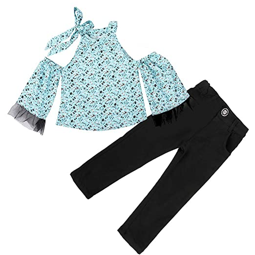 4f722d9b2e Amazon.com: Greal 2019 New Personality Fashion Floral Off-The-Shoulder Tops  + Elastic Trousers Outfits Set for Baby Girls: Clothing