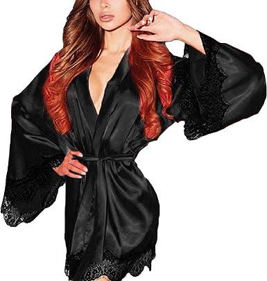 DEELIN Moda Femenina Kimono De Seda Sexy Dress Up Babydoll Encaje LenceríA Sexy Albornoz Pijamas (S-3XL)