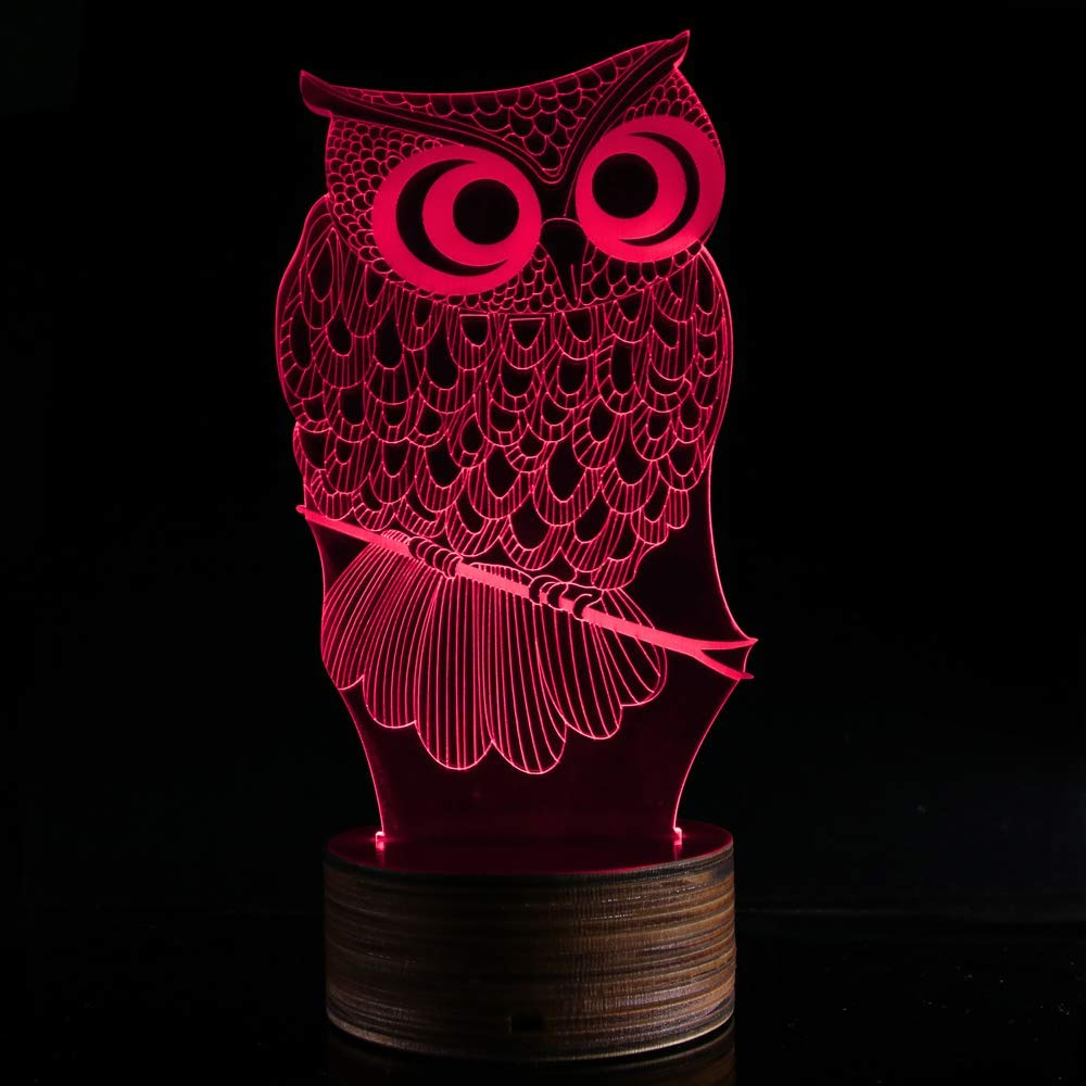 Novelty Lamp, 3D LED Lamp Optical Illusion Owl Night Light, USB Powered Remote Control Changes The Color of The Light, Furniture Desk Lamp Home Decoration Toy,Ambient Light by LIX-XYD (Image #3)