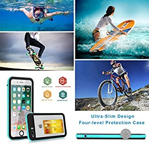 Waterproof Case for iphone 7 Plus/8 Plus Clear with 2 Float Straps and Fisheye lens Neck Lanyard GUYO Swimming Cover with Touch ID Clear Sound and Touch Screen with IP68 Cover (Blue transparent)