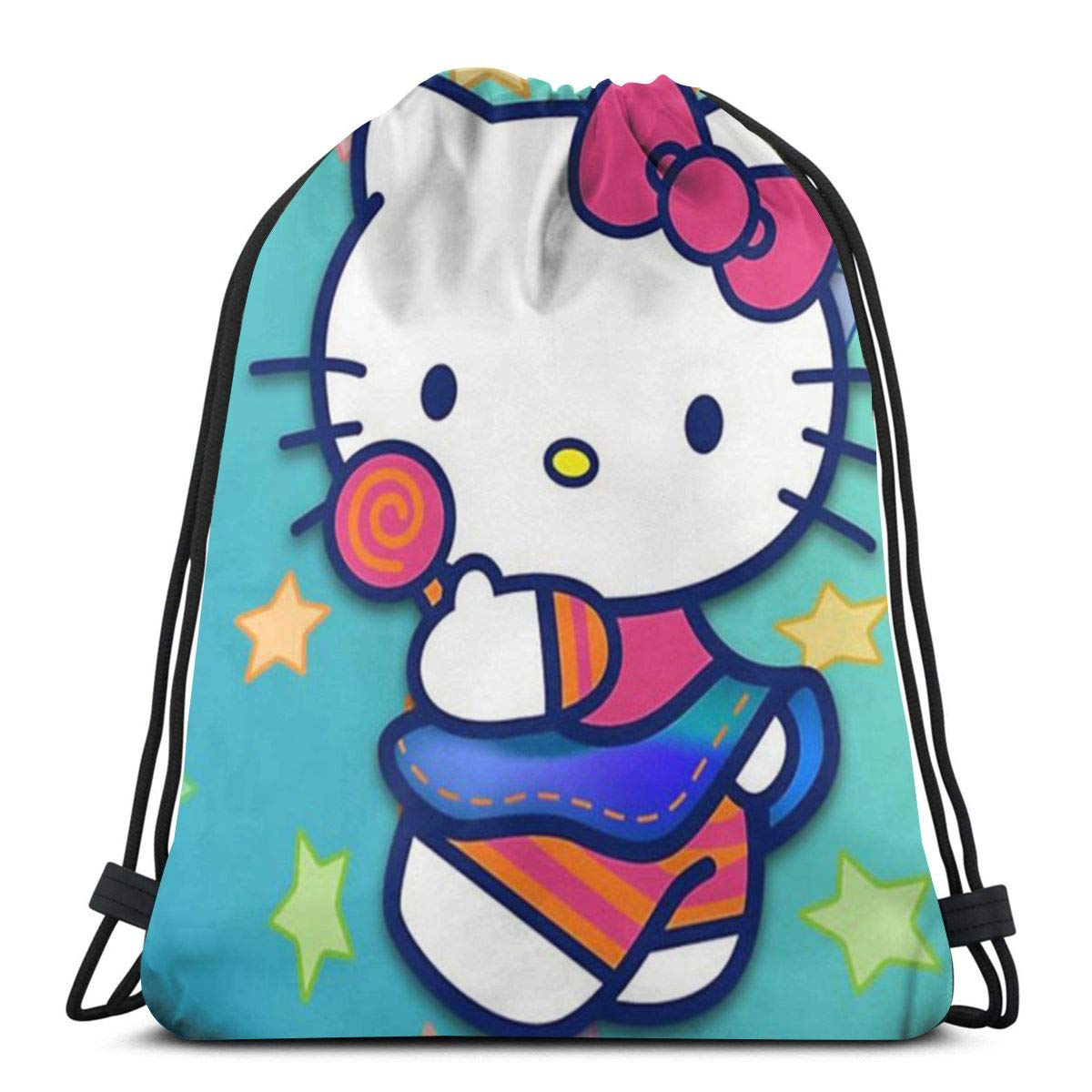 3a9fdd01e Amazon.com: MPJTJGWZ Classic Drawstring Bag-Colorful Hello Kitty Gym  Backpack Shoulder Bags Sport Storage Bag for Man Women: Home & Kitchen