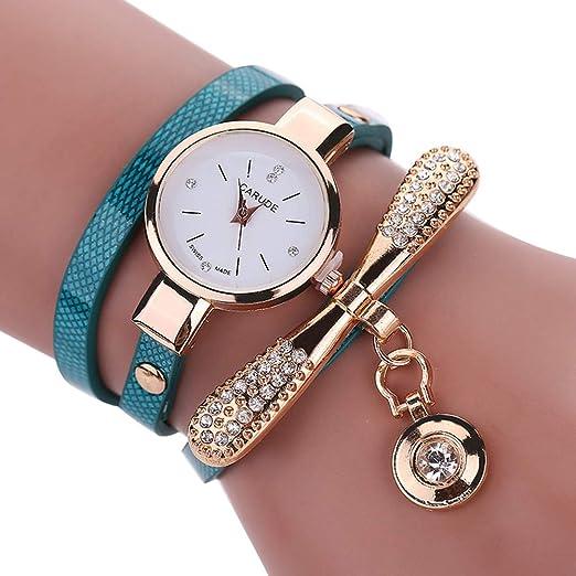 Colgante para Mujer Reloj de Pulsera Mujeres Moda Redondas Reloj de Pulsera creativos Bead Colgante Relojes