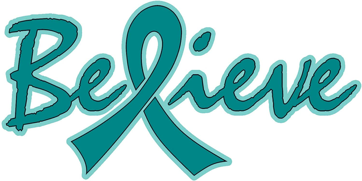 Amazon Com Believe Ovarian Cancer Awareness Teal Ribbon 6 X3 Car Decal Sticker Arts Crafts Sewing