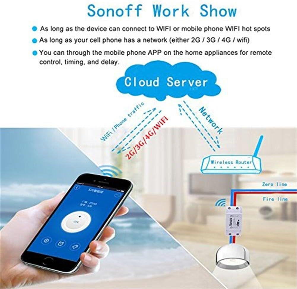 Baja Relaci/ón Calidad-Precio, Compatible con Alexa Google Home para iOS Android AC 90 /– 250 V 1 Pieza Sonoff Smart Hogar Wifi Smart M/ódulo de Interruptor inal/ámbrico con Control Remoto Inteligente