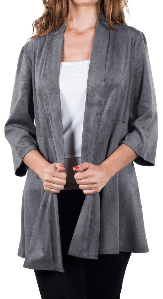 Joseph Ribkoff Grey Faux Suede Long Hem Coverup Style 163362 - Size 8 by Joseph Ribkoff