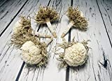 Set of 5 Small Rustic Wedding Bridesmaids Bouquets Made of Ivory Flowers Dried Limonium Burlap Lace and Pearl Pins