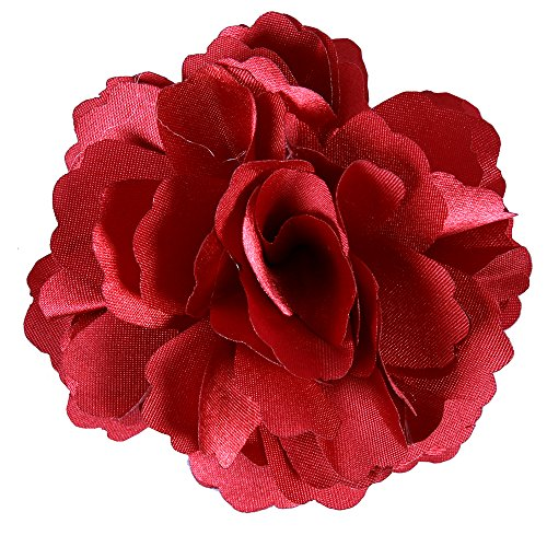 Anleolife Fabric Red Flower Hair Clips/Silky Floral Hair Flowers Bridal Wedding Cloth Decor Flower Crown Corsage Brooch Pins For T-shirt Jacket 6pcs/lot (red)
